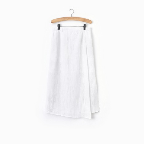 N.5 LONG WRAP SKIRT White