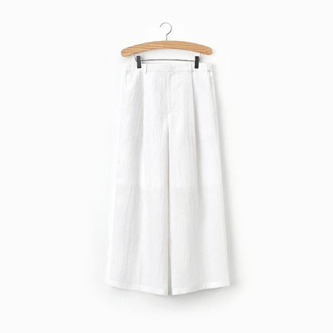 N.5 CREASE WIDE PANTS White