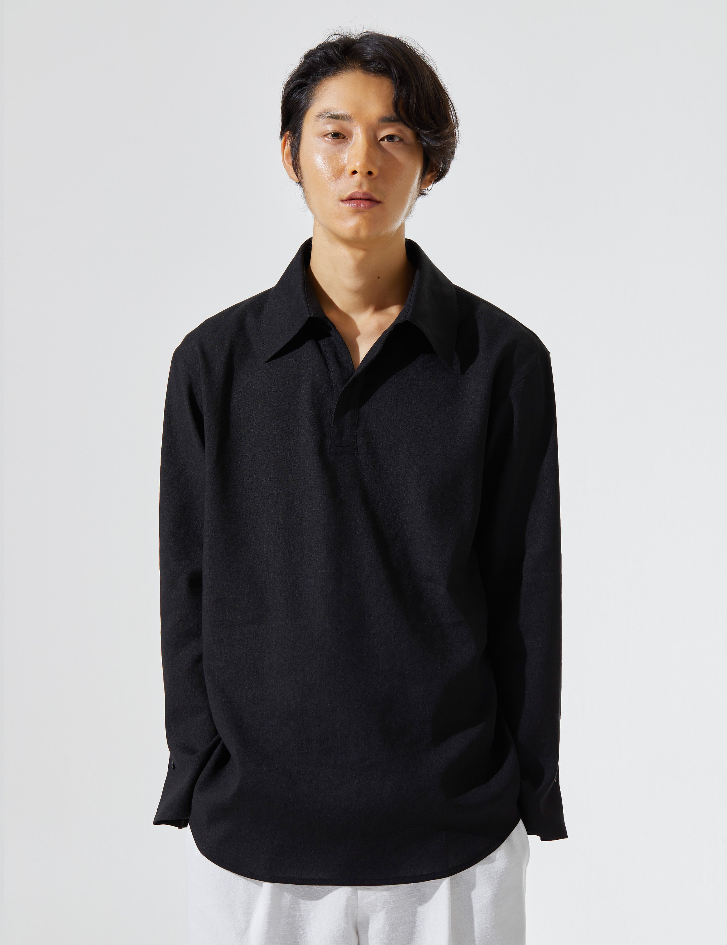 N.7 Wide lapel shirt Black
