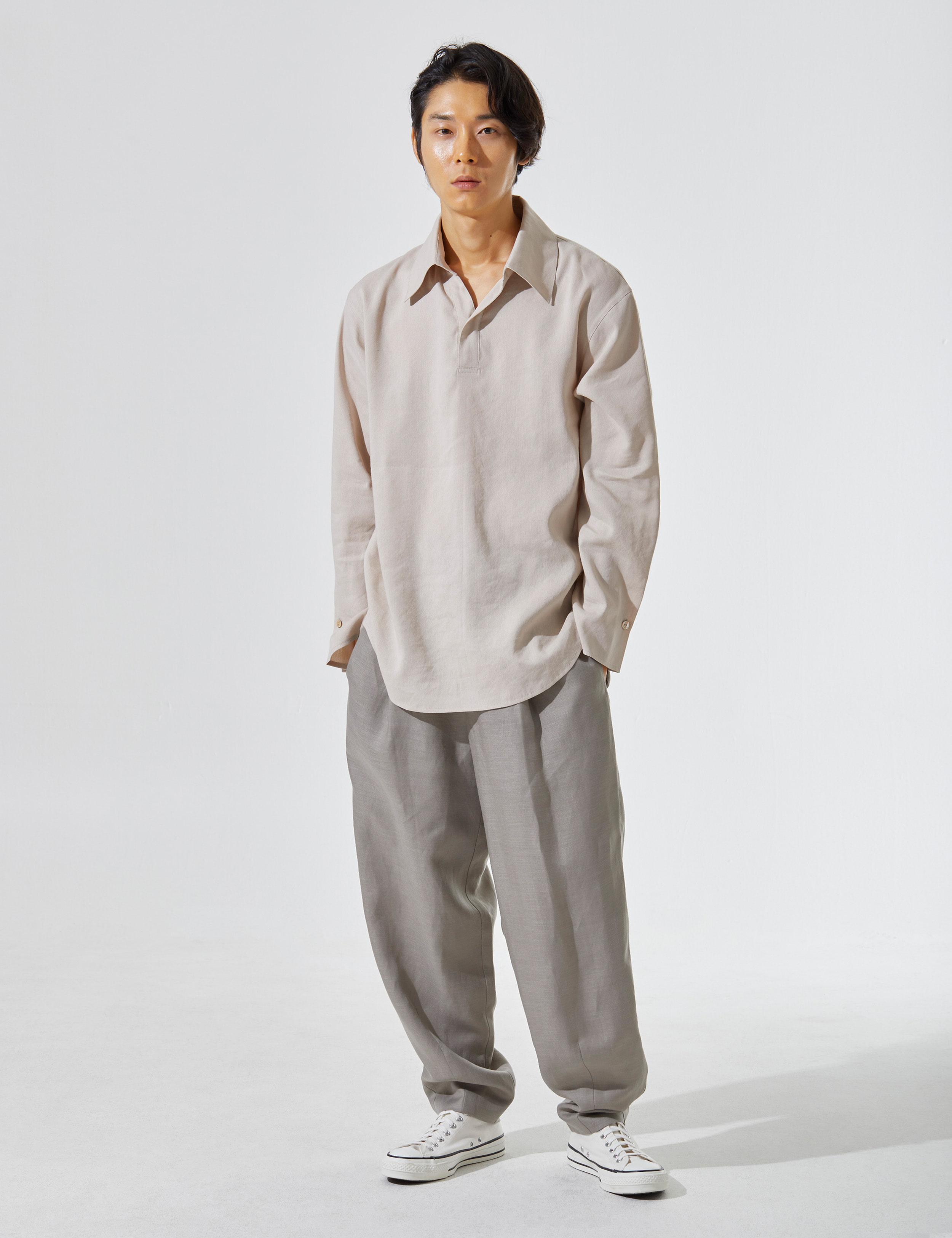 N.7 Waist wide pants Khaki gray