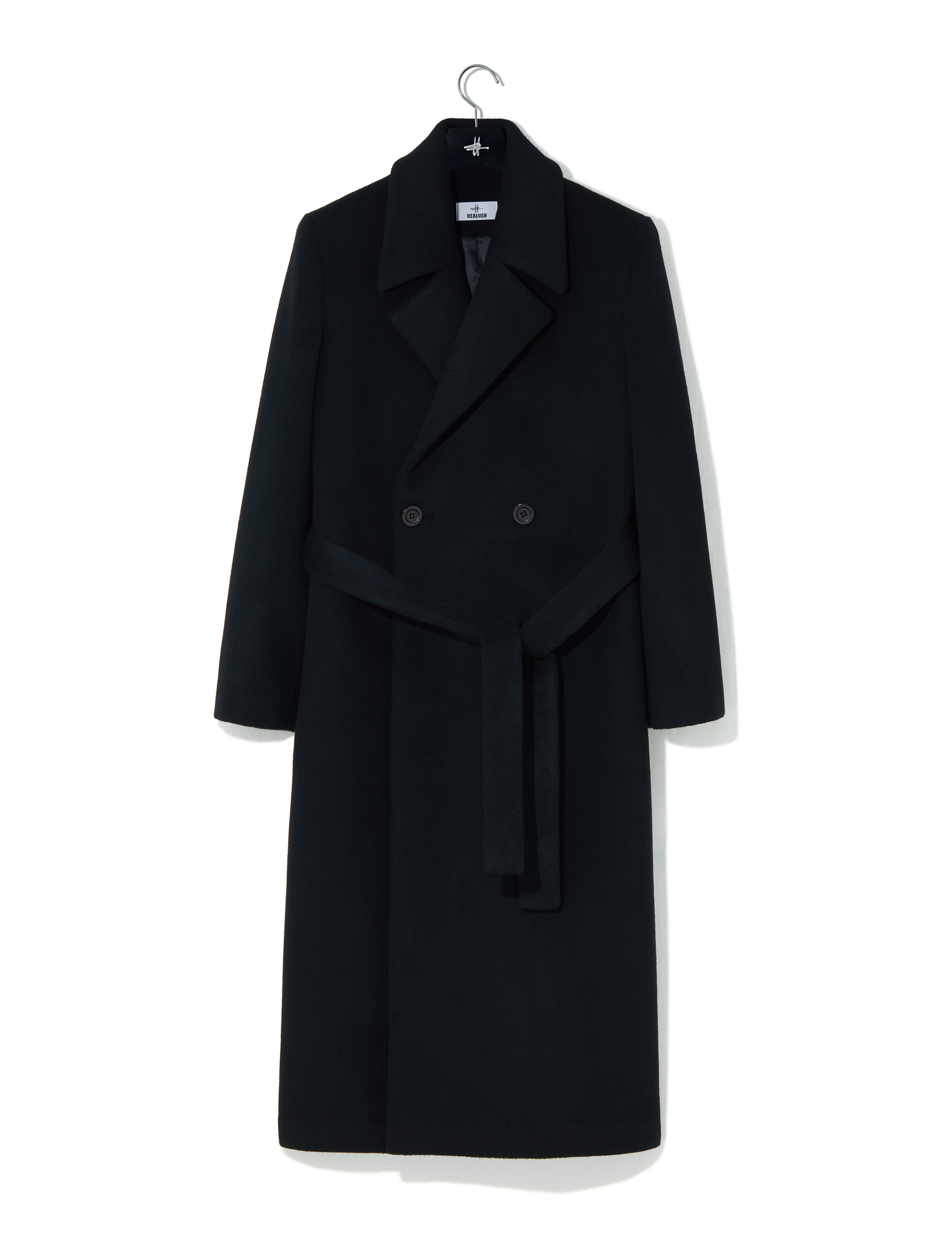 Double wool long coat black